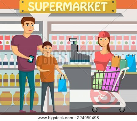 Father with son shopping at supermarket. Retail cashier in uniform with cash register and buyers, shop interior with shelves full of products. Family daily grocery purchase vector illustration.