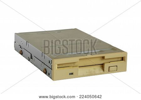 Floppy disk drive on white background, old technology and legacy industrial computer equipment