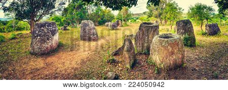 Archaeological landscape The Plain of jars.  Laos. Panorama