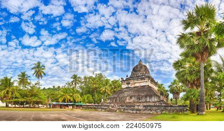 Beautiful view of stupa in Wat Visounnarath. Luang Prabang. Laos. Panorama