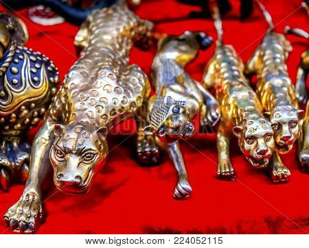 Chinese Replica Bronze Tigers Panjuan Flea Market  Decorations Beijing China.  Panjuan Flea Curio market has many fakes, replicas and copies of older Chinese products, many ancient.