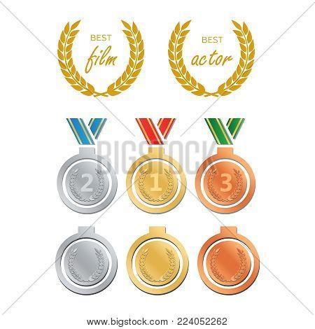 Awards For Best Film. Award Nomination Vector. Medal Award For B