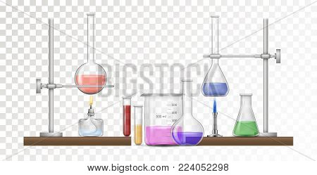 Realistic chemical equipment set with glass flask and beakers, burner and holder. Science chemical and medical research equipment in realistic style. VEctor illustration.