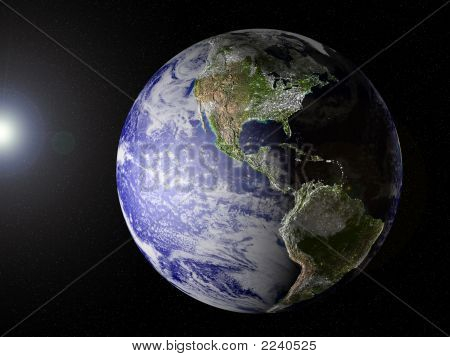 Our Planet In Space (America View) With Clipping Path