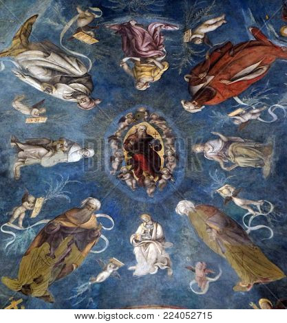 LUCCA, ITALY - JUNE 03: The vault shows God the Father among prophets, sibyls and angels, Basilica of Saint Frediano, fresco, Lucca, Tuscany, Italy on June 03, 2017.