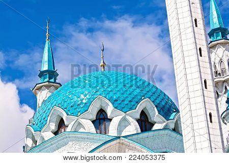 KAZAN, RUSSIA - JULY 26, 2014: Domes of the Kul Sharif mosque in the territory of the Kazan Kremlin. Tatarstan Republic.