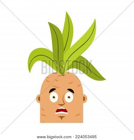 Mandrake root scared OMG emoji. Oh my God emotions Legendary mystical plant in form of man.