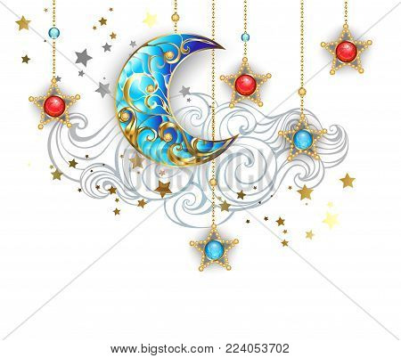 Jewelry, gold crescent with jewelry stars on a white background with a contouring cloud. Jewelry crescent.