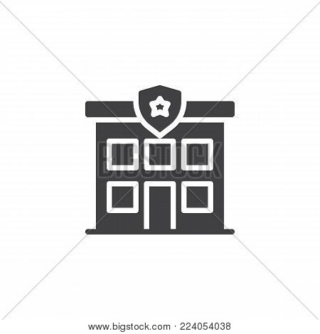 Police station icon vector, filled flat sign, solid pictogram isolated on white. Police department building symbol, logo illustration.