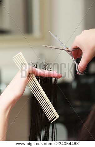 Close-up of hairdresser hands. Hairstylist with comb and scissors cutting hair of female client. Woman in hairdressing beauty salon.