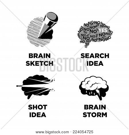 Idea and brainstorm icons of brain, bullet shot or pencil. Vector isolated symbols of brain cloud rain for creative thinking or art brainstorming presentation design