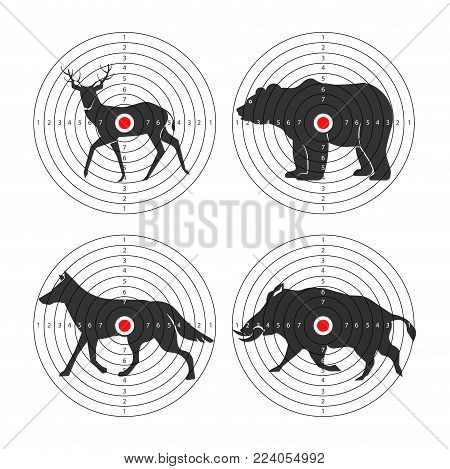 Hunting animals targets vector icons for hunt shooting training background template. Vector set of hunter target aims for bear, wolf or aper hog and deer or elk hunt shooting training