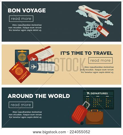 Travel or airplane trip banners for summer vacations or air tourism agency. Vector bon voyage flat design of aircraft and globe, tourist travel bags and passports or flight tickets and airport schedule