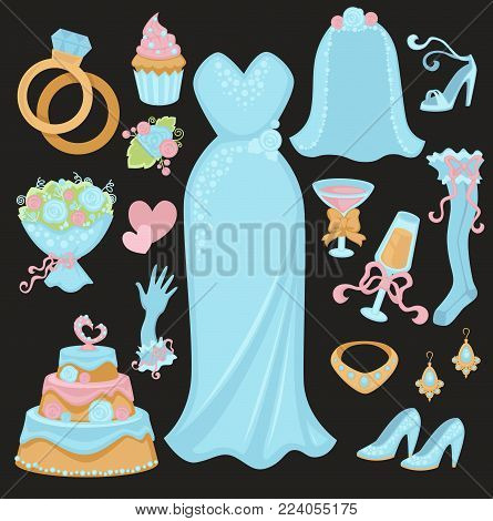 Wedding traditional attributes in blue colors set. Bridal rings, elegant gown, luxurious jewelry, stylish accessories, tender bouquet, glasses of champagne and delicious cake vector illustrations.