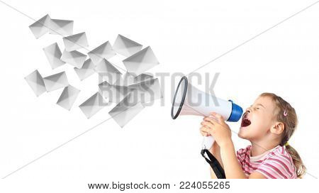 beautiful little girl in pink T-shirt screams in megaphone isolated on white, spam mailing