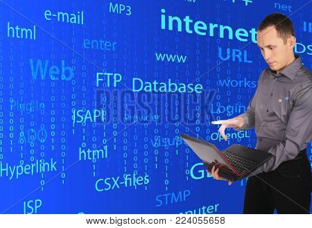 Collage with young man with laptop in hand on an abstract background of words and numbers