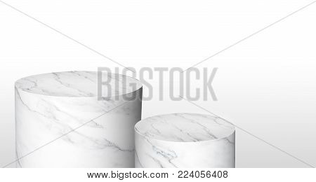 Product display cylinder stand made from white glossy marble in two step with copy space for display of content design or replace your background,Banner for advertise product on website,3d rendering.
