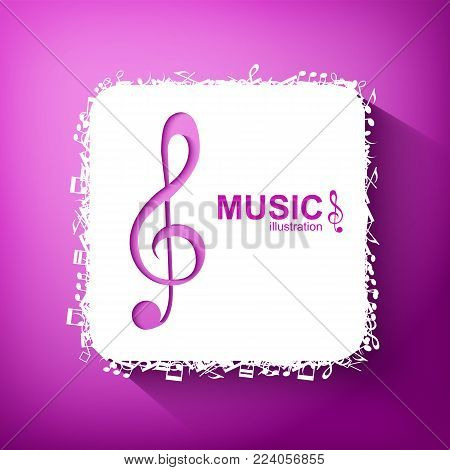 Music abstract template with purple treble clef white square and musical notes icons isolated vector illustration