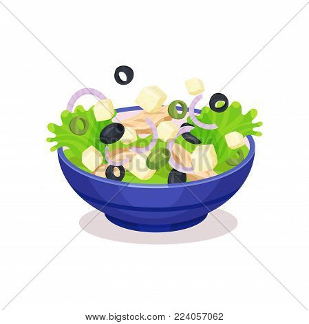 Bowl of mixed salad, healthy eating concept vector Illustration on a white background