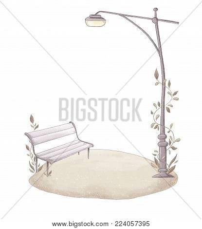 Wooden bench and Streetlight on green meadow. Park items. Cute and romantic. Isolated on white