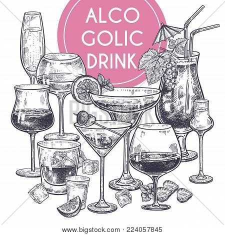 Alcoholic Drinks Poster. Glass Of Champagne, Margarita, Brandy, Whiskey With Ice, Cocktail, Wine, Vo
