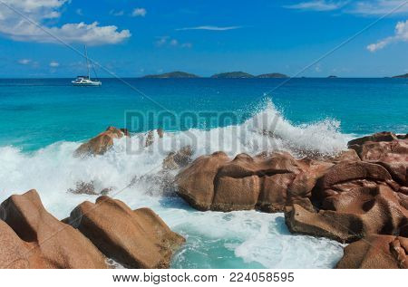 Sunlit Sea Foam Magnificent Seychelles