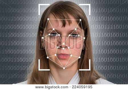 Woman face recognition - biometric verification concept