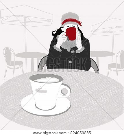 young girl with a black coffee in a cafe. trendy, modern girl drinking black coffee at an outdoor cafe. modern, colored illustration for design of cafes, bars