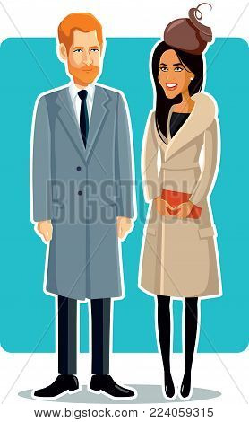 London, UK, 15 January, Meghan Markle and Prince Harry Vector Caricature