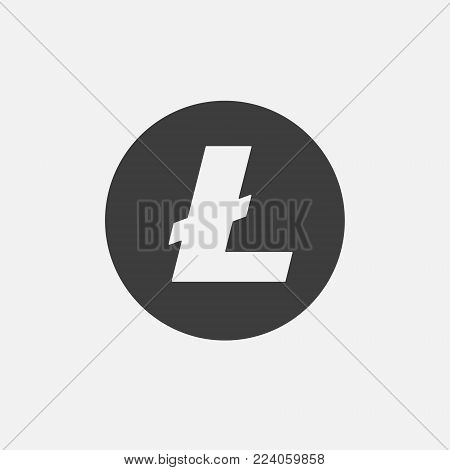 Litecoin LTC vector icon isolated on white. Cryptocurrency, e-currency, payment, crypto currency, blockchain sign. Black white logo, flat adaptation design for web site, mobile app, EPS