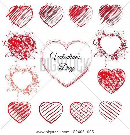Set of sketched red hearts. 13 hand drawn love symbols with pen scribbles, pencil scratches and grunge splashes. Sketchy vector illustration with outline heart doodles for valentines day or wedding.