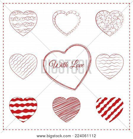 Set of hand drawn red hearts. 10 sketchy love symbols with different doodle decorations, pencil scribble and pen wave lines. Sketched vector contour illustration for valentines day or trendy wedding.