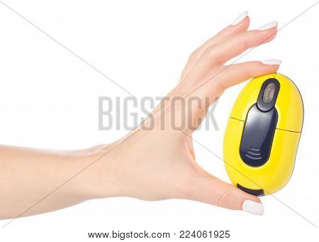 Wireless mouse in hand on white background isolation
