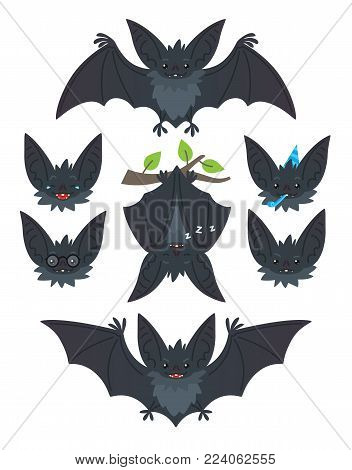Bat in various poses. Flying, hanging. Grey bat-eared snouts with different emotions. Vector illustration of modern flat animal emoticons on white background. Cute mascot emoji set. Halloween smiley.
