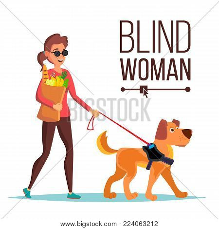 Blind Woman Vector. Person With Pet Dog Companion. Blind Female In Dark Glasses And Guide Dog Walking. Cartoon Character Illustration