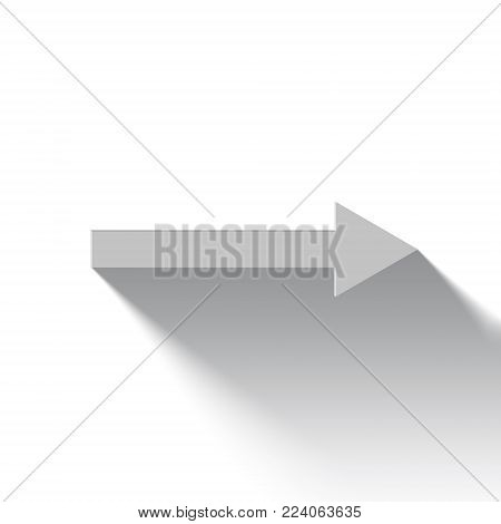 white arrow to right side on white background, signage, icon