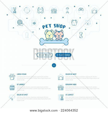 Pet shop concept: cat and dog hug bone with thin line icons around: collar, kennel, grooming, food, toys. Modern vector illustration, web page template.