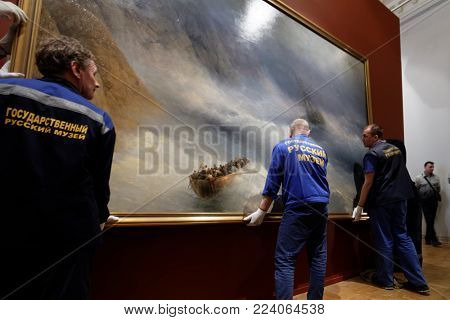 ST. PETERSBURG, RUSSIA - MARCH 21, 2017: Dismounting the exhibition of Ivan Aivazovsky in the Russian Museum. More than 300,000 people visited the exhibition