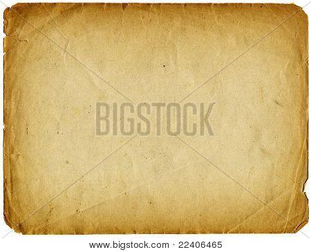 Alte Papier-Grunge isoliert auf weißem Hintergrund