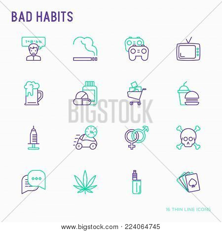 Bad habits thin line icons set: abuse, alcoholism, cigarette, marijuana, drugs, fast food, poker, promiscuity, tv, video games. Modern vector iilustration.