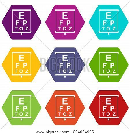 White placard with letters eyesight testing icon set many color hexahedron isolated on white vector illustration