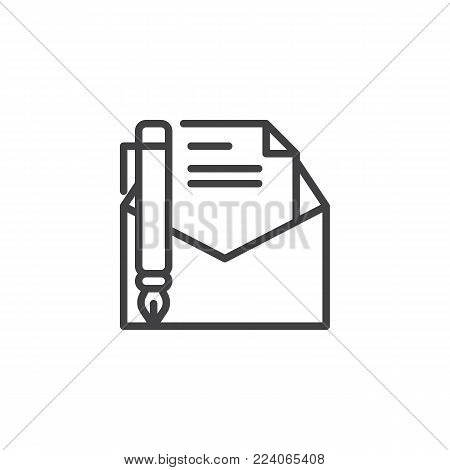 Write a message line icon, outline vector sign, linear style pictogram isolated on white. Letter writing symbol, logo illustration. Editable stroke