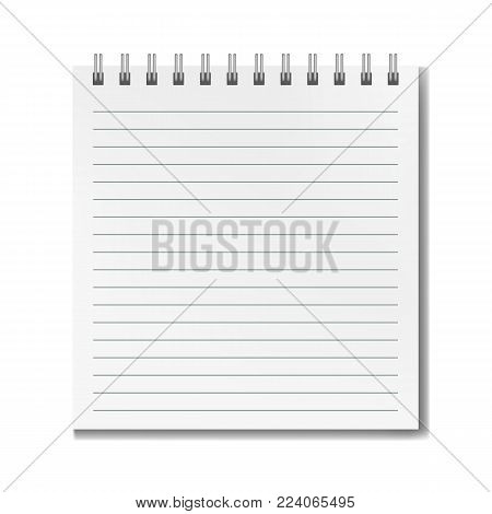 Blank vector realistic vertical lined square notebook with shadow template. Notepad with blank opened ruled page on metallic spiral, textbook or organizer mockup for your text