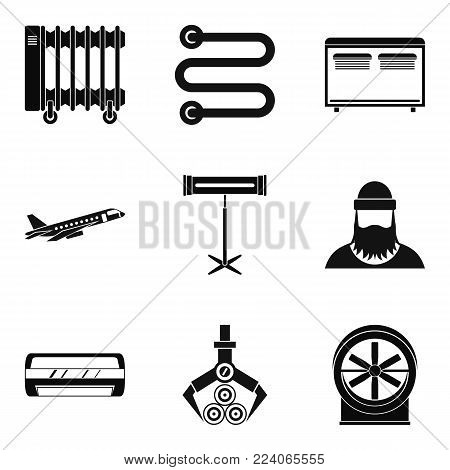 Heating icons set. Simple set of 9 heating vector icons for web isolated on white background