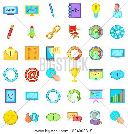 Managing icons set. Cartoon set of 36 managing vector icons for web isolated on white background