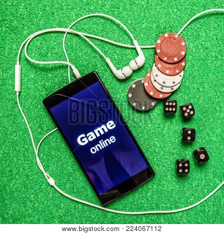 Game online - concept of gambling. Casinos accessories shoting above.