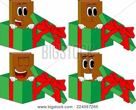 Books in a gift box. Cartoon book collection with happy faces. Expressions vector set.
