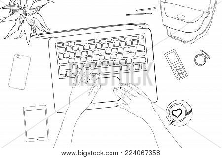 Vector illustration of Hand drawn, doodle flat lay coordination with hands. Feminine workspace collage. Women trendy fashion. Top views. Template for blogger, social media