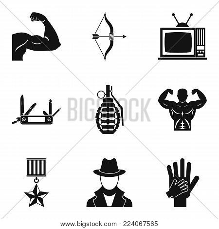 Hero icons set. Simple set of 9 hero vector icons for web isolated on white background