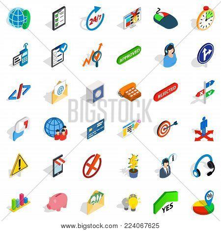Business manager icons set. Isometric set of 36 business manager vector icons for web isolated on white background